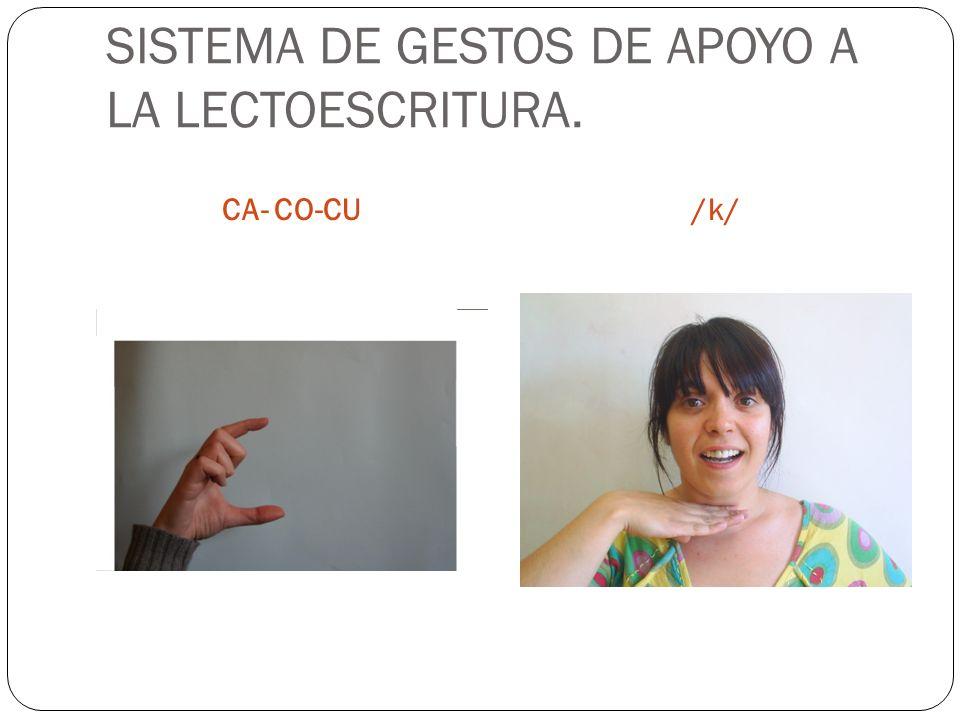 SISTEMA DE GESTOS DE APOYO A LA LECTOESCRITURA. CA- CO-CU/k/