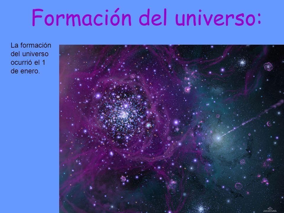 Formación del universo: La formación del universo ocurrió el 1 de enero.