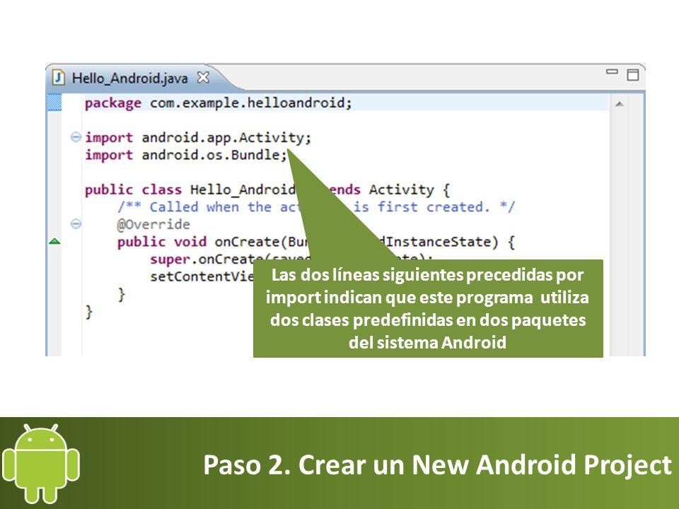 Paso 2. Crear un New Android Project Las dos líneas siguientes precedidas por import indican que este programa utiliza dos clases predefinidas en dos