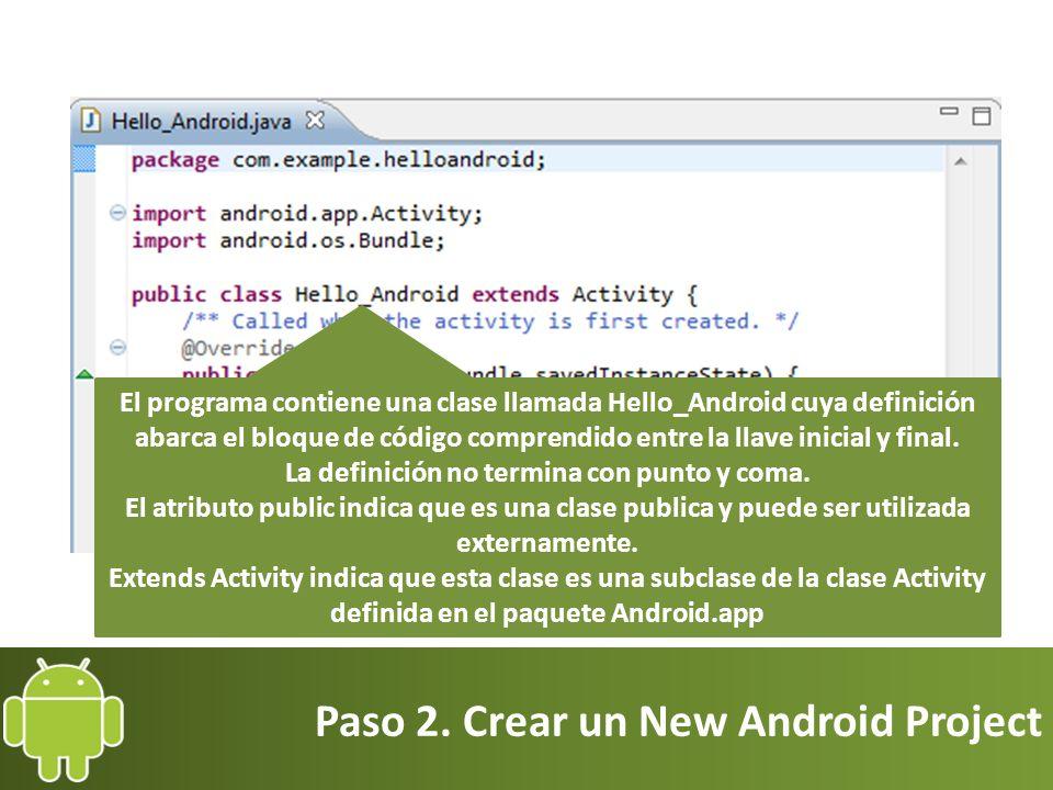 Paso 2. Crear un New Android Project El programa contiene una clase llamada Hello_Android cuya definición abarca el bloque de código comprendido entre