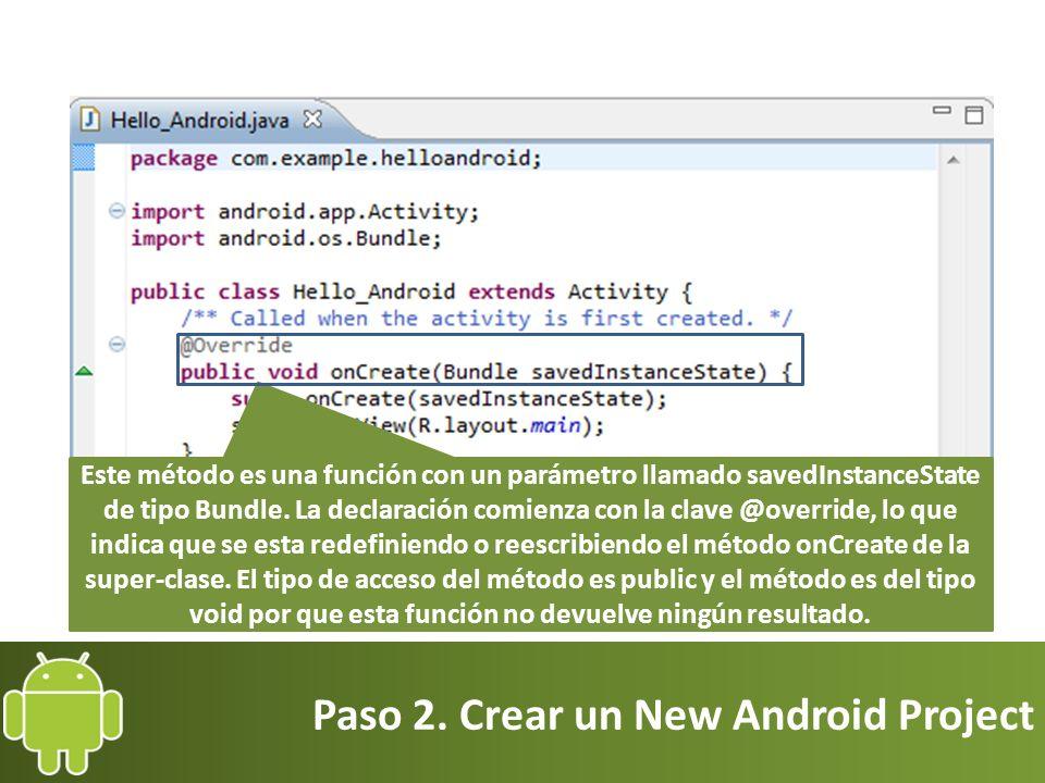Paso 2. Crear un New Android Project Este método es una función con un parámetro llamado savedInstanceState de tipo Bundle. La declaración comienza co