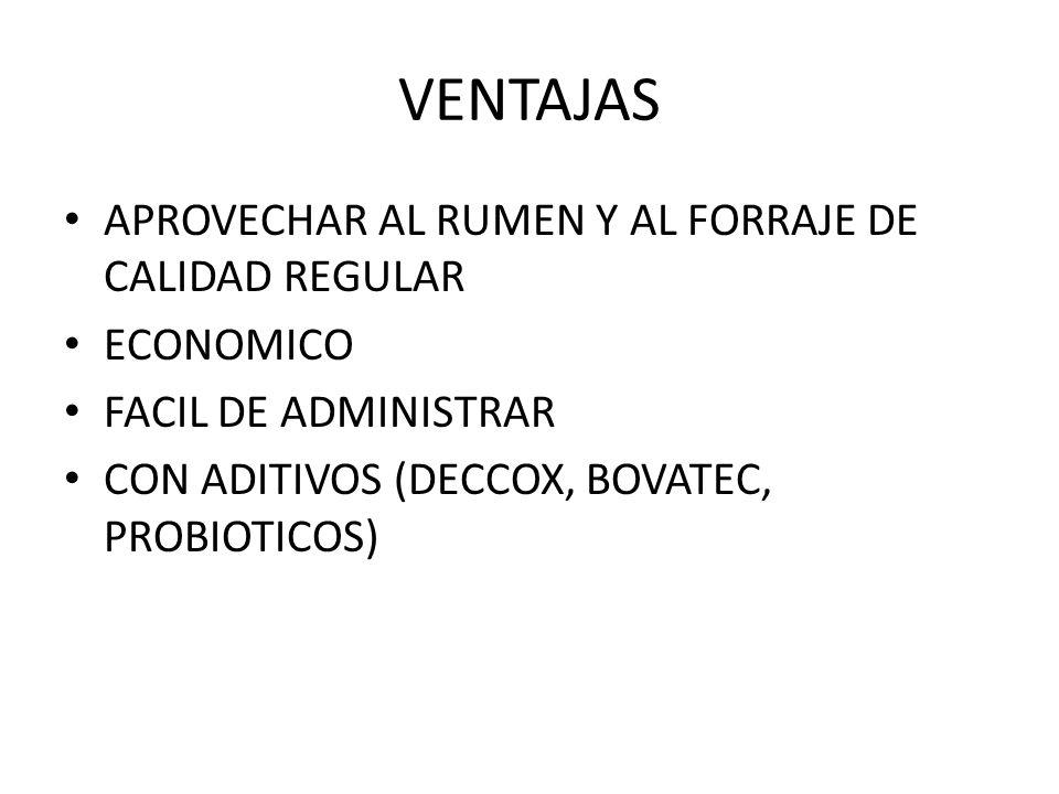 VENTAJAS APROVECHAR AL RUMEN Y AL FORRAJE DE CALIDAD REGULAR ECONOMICO FACIL DE ADMINISTRAR CON ADITIVOS (DECCOX, BOVATEC, PROBIOTICOS)