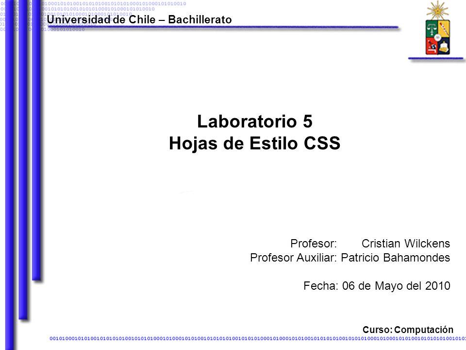 Laboratorio 5 Hojas de Estilo CSS Universidad de Chile – Bachillerato Curso: Computación Cristian Wilckens Patricio Bahamondes Fecha: 06 de Mayo del 2010 Profesor: Profesor Auxiliar: