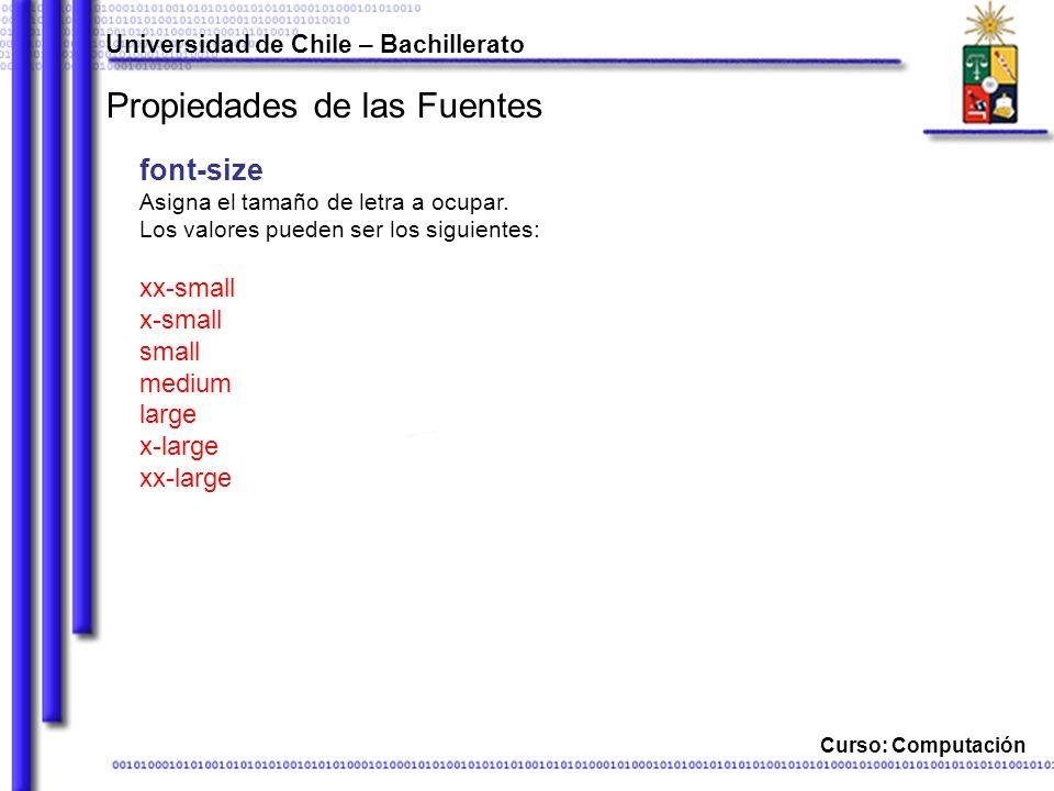 Universidad de Chile – Bachillerato Curso: Computación Propiedades de las Fuentes font-size Asigna el tamaño de letra a ocupar.
