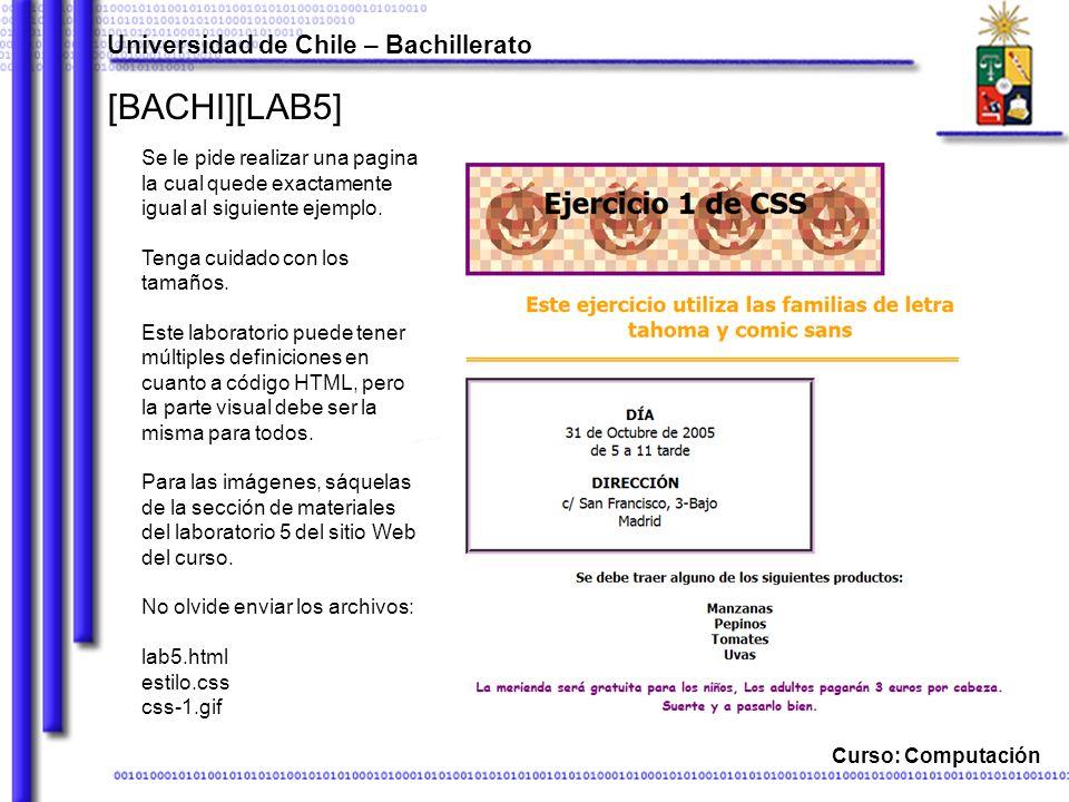 Curso: Computación [BACHI][LAB5] Se le pide realizar una pagina la cual quede exactamente igual al siguiente ejemplo.