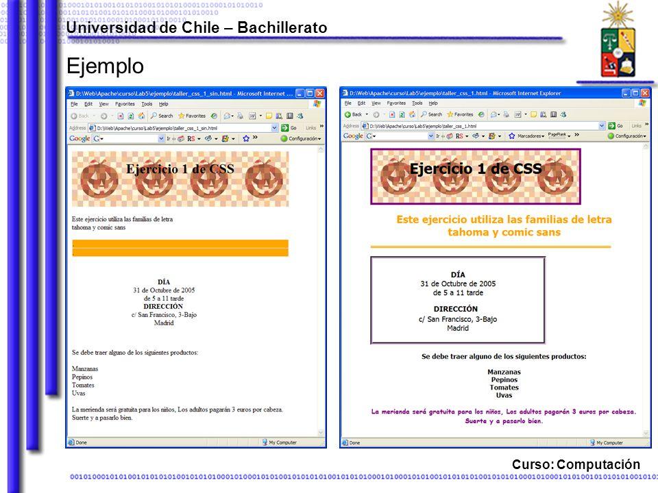 Universidad de Chile – Bachillerato Curso: Computación Propiedades de cuadro padding-x Define el espacio entre el borde interno del elemento y el contenido.