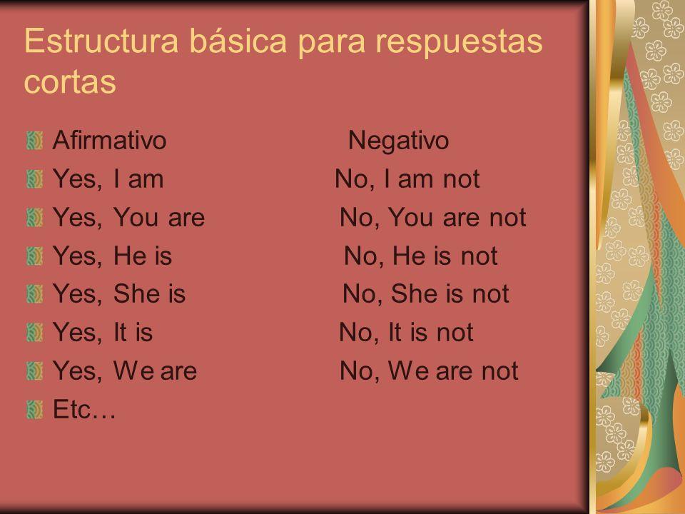 Estructura básica para respuestas cortas Afirmativo Negativo Yes, I am No, I am not Yes, You are No, You are not Yes, He is No, He is not Yes, She is