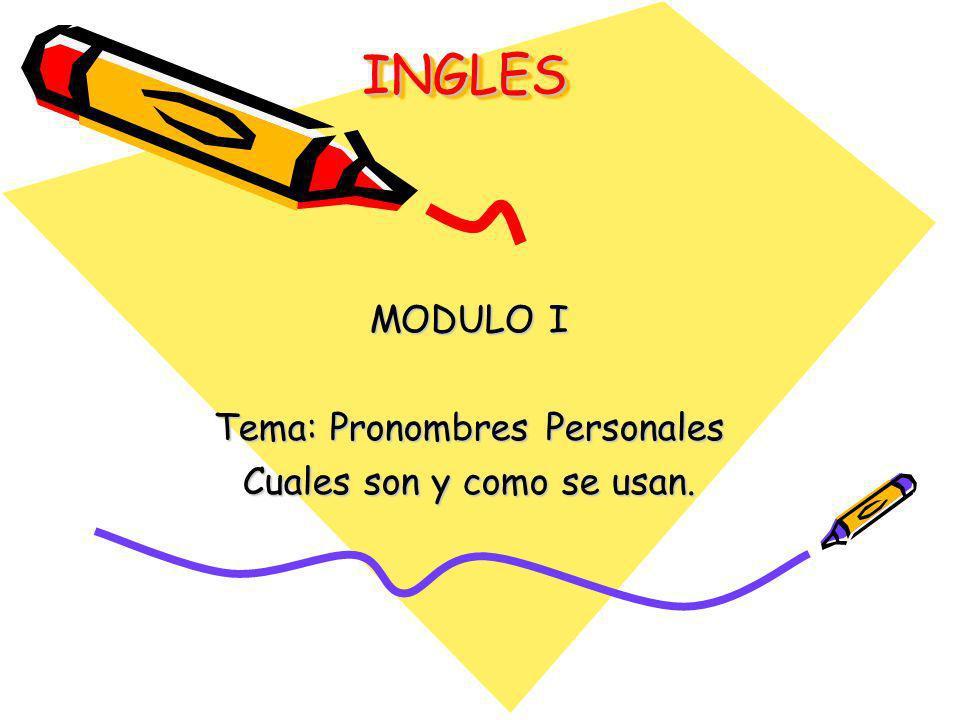 INGLESINGLES MODULO I Tema: Pronombres Personales Cuales son y como se usan.