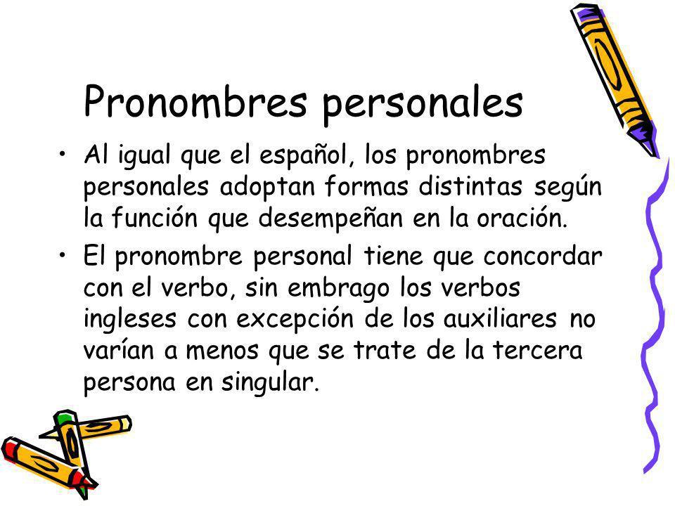 Pronombres personales Al igual que el español, los pronombres personales adoptan formas distintas según la función que desempeñan en la oración. El pr
