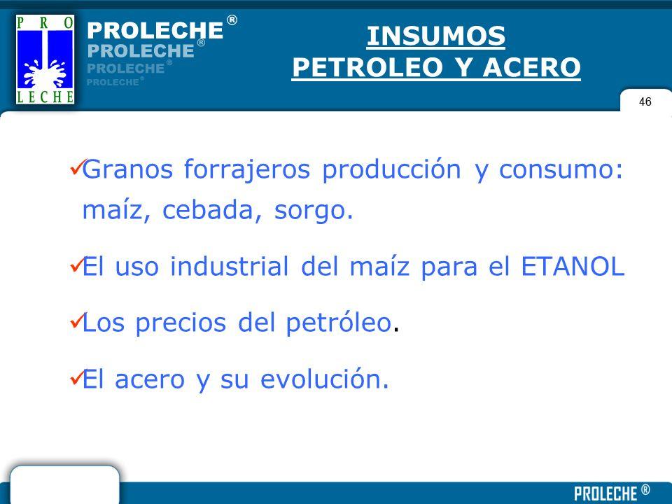 46 INSUMOS PETROLEO Y ACERO Granos forrajeros producción y consumo: maíz, cebada, sorgo. El uso industrial del maíz para el ETANOL Los precios del pet