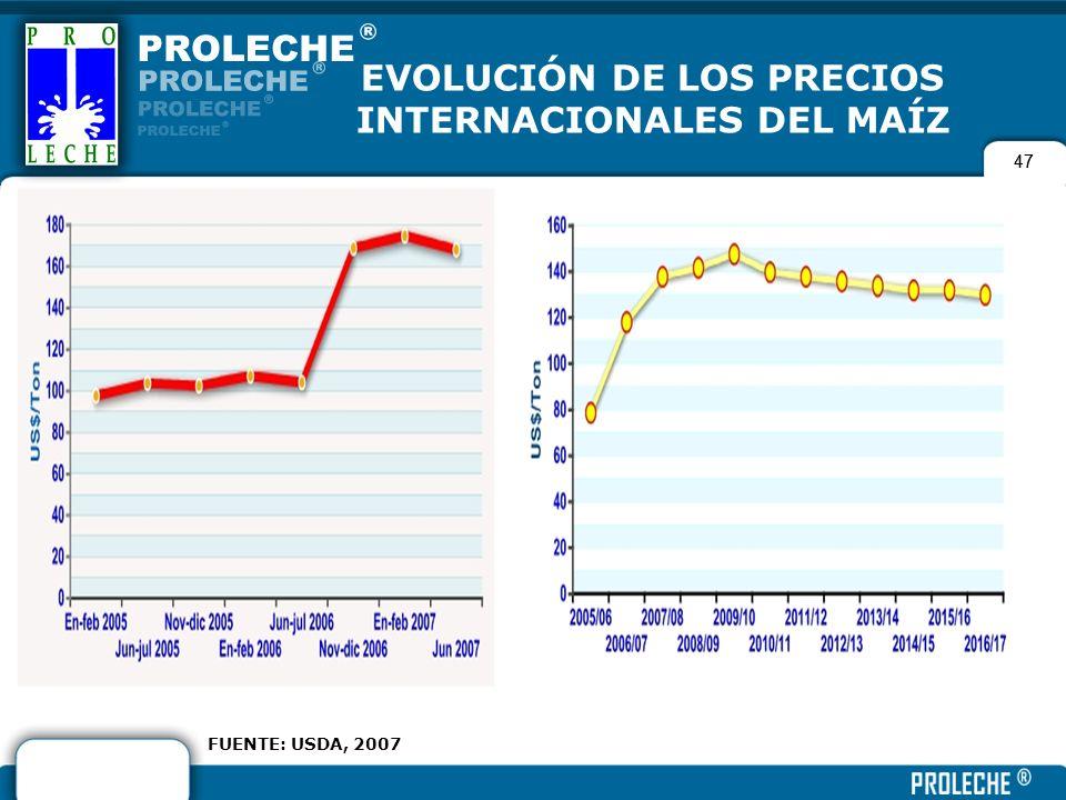 47 EVOLUCIÓN DE LOS PRECIOS INTERNACIONALES DEL MAÍZ FUENTE: USDA, 2007 47