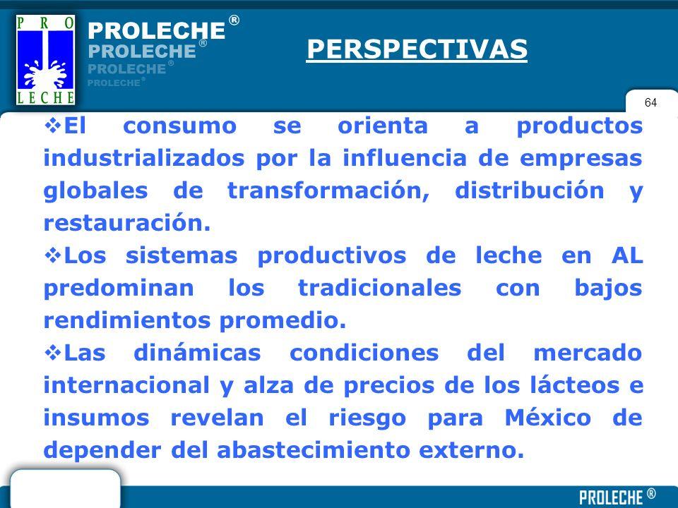 64 PERSPECTIVAS El consumo se orienta a productos industrializados por la influencia de empresas globales de transformación, distribución y restauraci