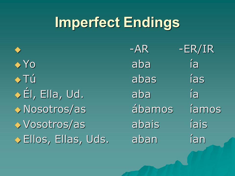 Imperfect Endings -AR -ER/IR -AR -ER/IR Yoaba ía Yoaba ía Túabas ías Túabas ías Él, Ella, Ud.aba ía Él, Ella, Ud.aba ía Nosotros/asábamos íamos Nosotros/asábamos íamos Vosotros/asabais íais Vosotros/asabais íais Ellos, Ellas, Uds.aban ían Ellos, Ellas, Uds.aban ían