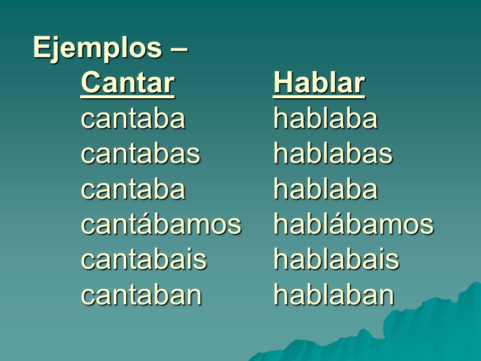 Ejemplos – CantarHablar cantaba hablaba cantabashablabas cantaba hablaba cantábamos hablábamos cantabaishablabais cantabanhablaban