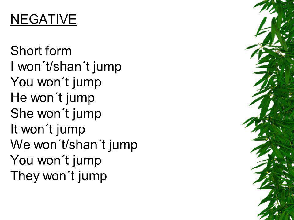 INTERROGATIVE Will I jump.¿Saltaré yo. Will you jump.