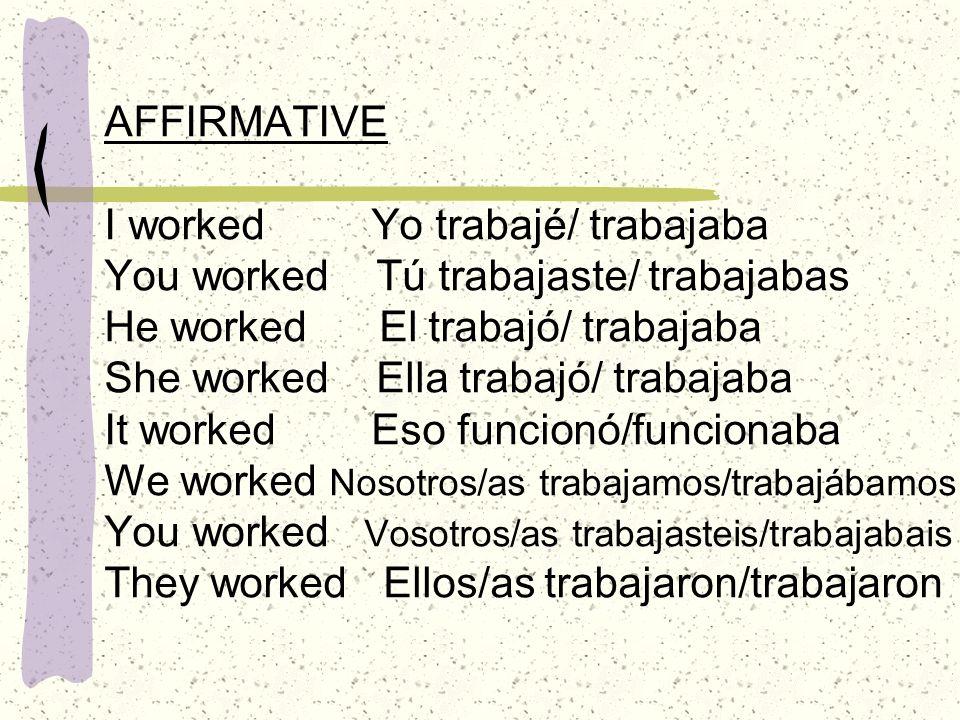 NEGATIVE I didn´t work Yo no trabajé/trabajaba You didn´t work He didn´t work She didn´t work It didn´t work Eso no funcionó/funcionaba We didn´t work You didn´t work They didn´t work