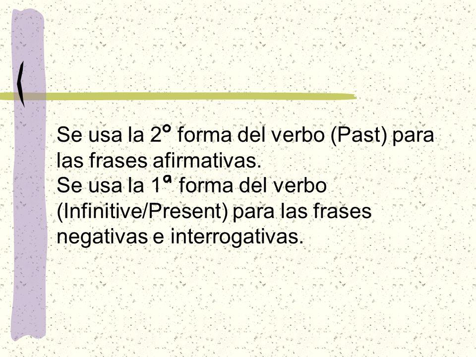 Se usa la 2 º forma del verbo (Past) para las frases afirmativas.
