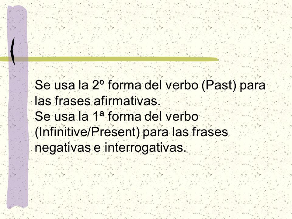 Se usa la 2º forma del verbo (Past) para las frases afirmativas. Se usa la 1ª forma del verbo (Infinitive/Present) para las frases negativas e interro