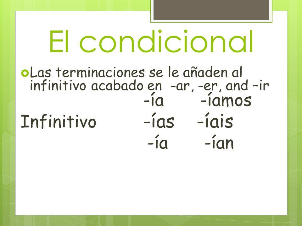El condicional Las terminaciones se le añaden al infinitivo acabado en -ar, -er, and –ir -ía -íamos Infinitivo -ías -íais -ía -ían