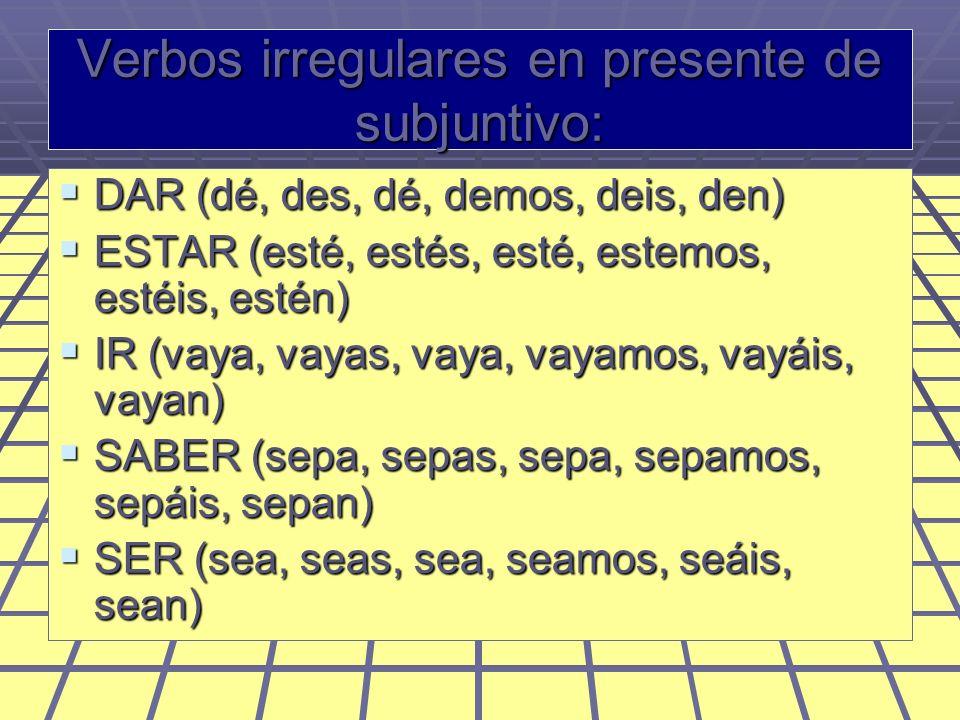 Los verbos que terminan en IR: Tienen dos cambios: Yo, tú, él y ellos: la e cambia a ie (que yo prefiera), y la o cambia a ue (que yo duerma) Nosotros