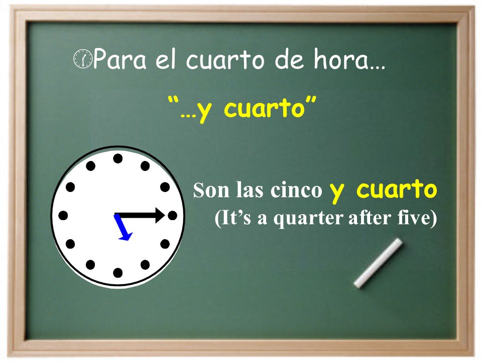 Para el cuarto de hora… …y cuarto S on las cinco y cuarto (Its a quarter after five)