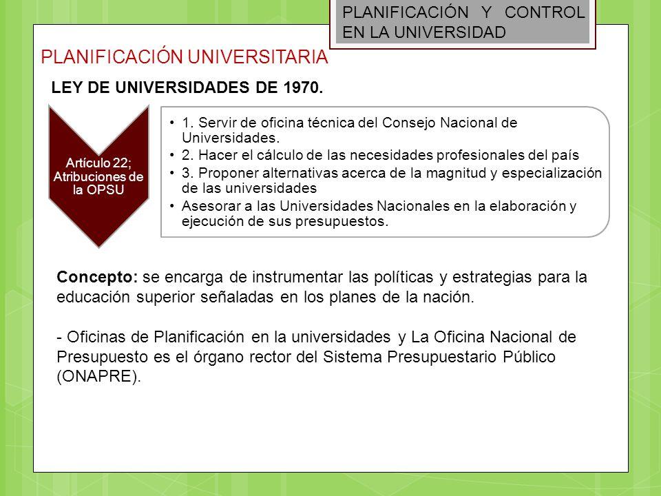 PLANIFICACIÓN Y CONTROL EN LA UNIVERSIDAD PLANIFICACIÓN UNIVERSITARIA Artículo 22; Atribuciones de la OPSU 1. Servir de oficina técnica del Consejo Na