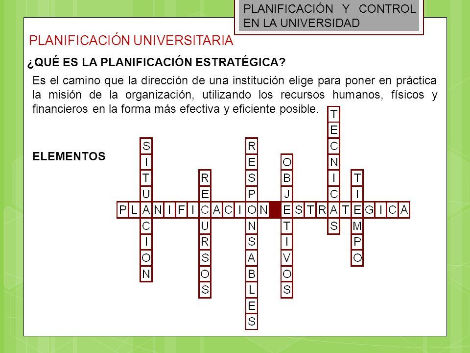 PLANIFICACIÓN Y CONTROL EN LA UNIVERSIDAD PLANIFICACIÓN UNIVERSITARIA Es el camino que la dirección de una institución elige para poner en práctica la