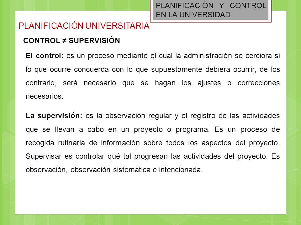 PLANIFICACIÓN Y CONTROL EN LA UNIVERSIDAD PLANIFICACIÓN UNIVERSITARIA CONTROL SUPERVISIÓN El control: es un proceso mediante el cual la administración
