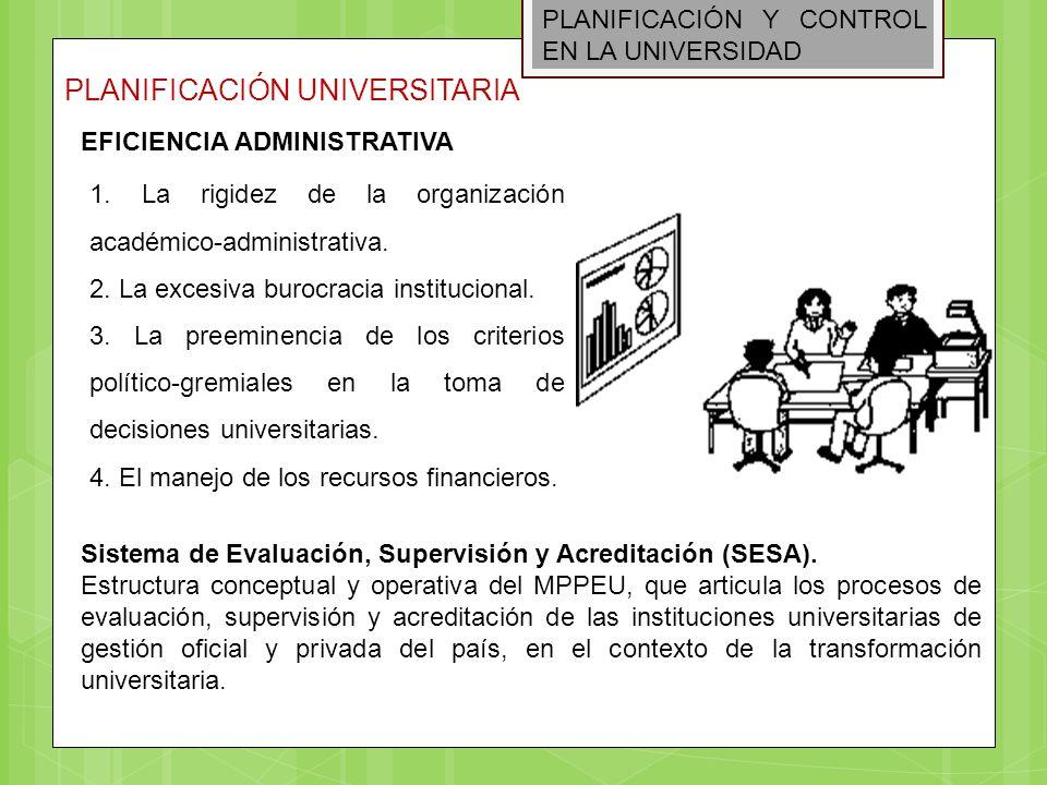 PLANIFICACIÓN Y CONTROL EN LA UNIVERSIDAD PLANIFICACIÓN UNIVERSITARIA EFICIENCIA ADMINISTRATIVA 1. La rigidez de la organización académico-administrat