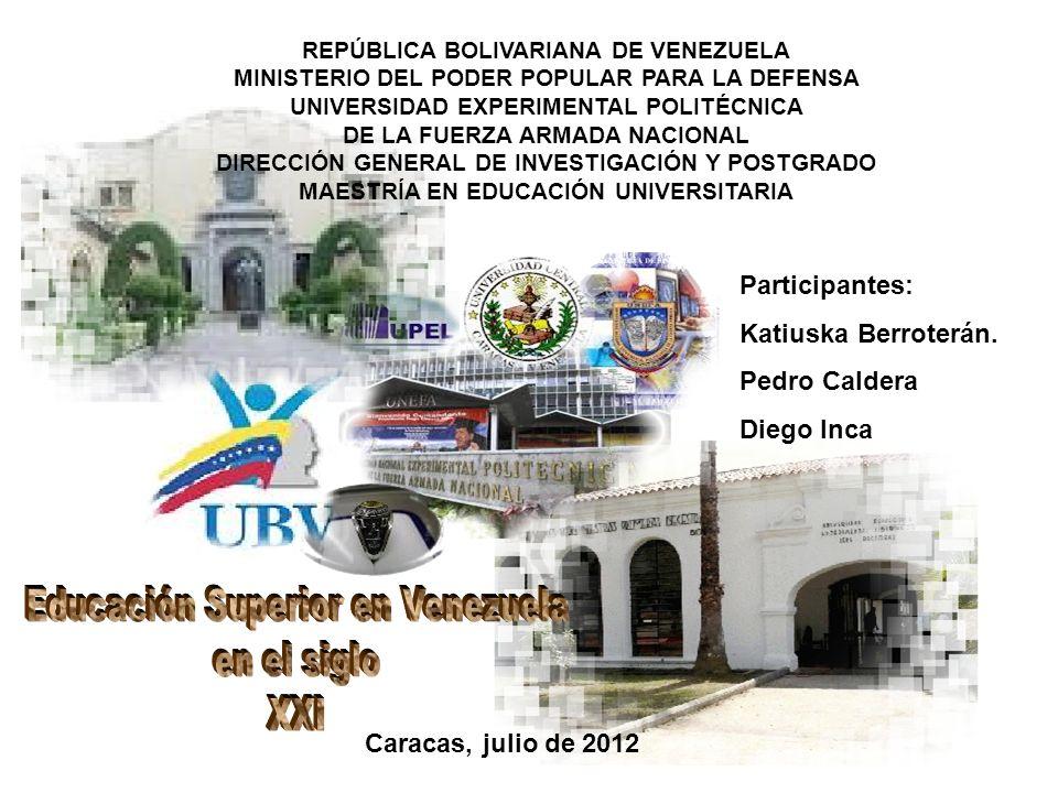 REPÚBLICA BOLIVARIANA DE VENEZUELA MINISTERIO DEL PODER POPULAR PARA LA DEFENSA UNIVERSIDAD EXPERIMENTAL POLITÉCNICA DE LA FUERZA ARMADA NACIONAL DIRE