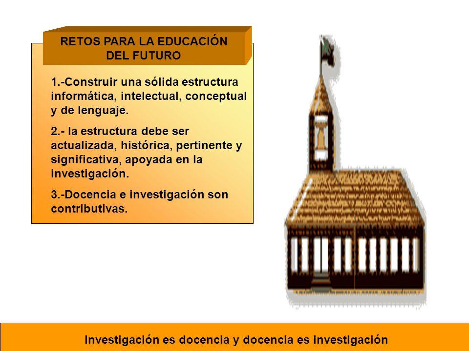 1.-Construir una sólida estructura informática, intelectual, conceptual y de lenguaje. 2.- la estructura debe ser actualizada, histórica, pertinente y