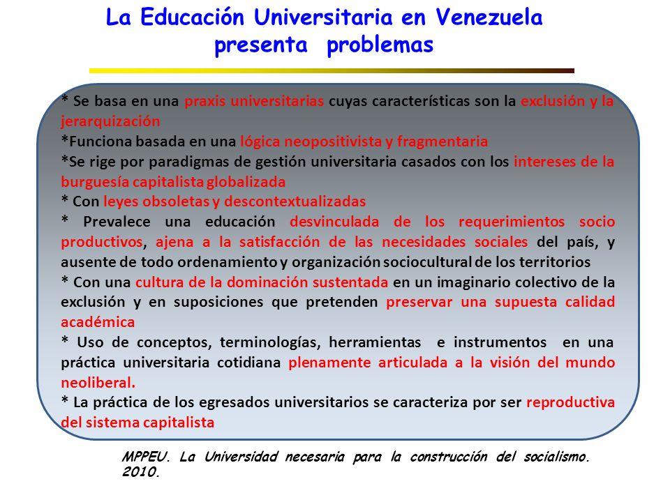 La Educación Universitaria en Venezuela presenta problemas * Se basa en una praxis universitarias cuyas características son la exclusión y la jerarqui