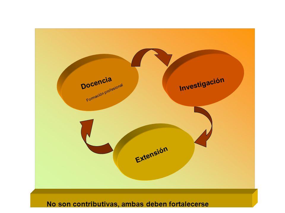 Docencia Investigación Extensión Formación profesional No son contributivas, ambas deben fortalecerse