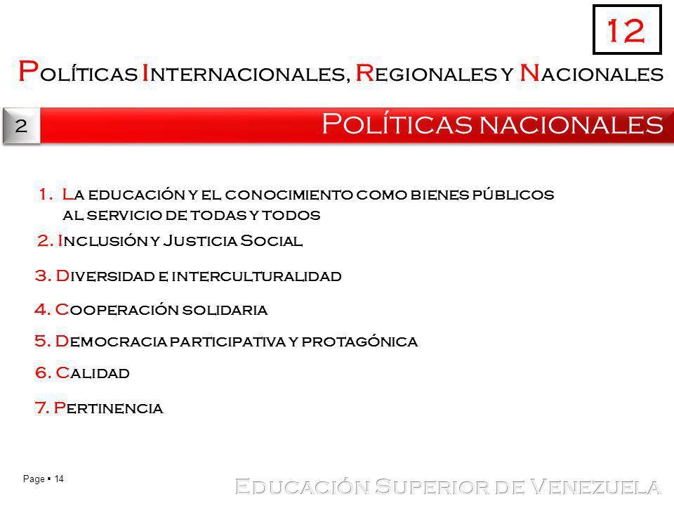 Page 14 P olíticas i nternacionales, r egionales y n acionales Políticas nacionales 12 2 2 1.La educación y el conocimiento como bienes públicos al se
