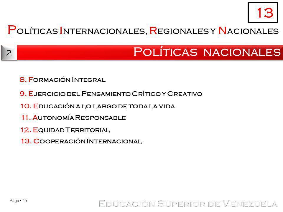 Page 15 P olíticas i nternacionales, r egionales y n acionales Políticas nacionales 13 2 2 8. Formación Integral 9. Ejercicio del Pensamiento Crítico