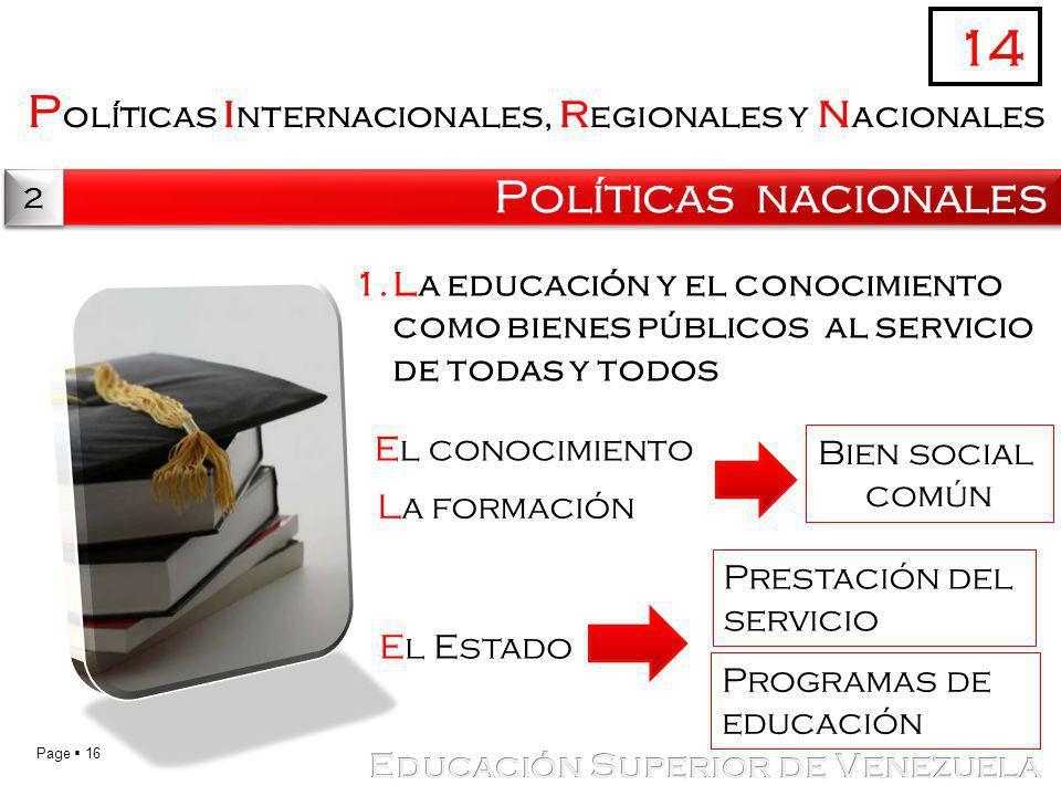 Page 16 P olíticas i nternacionales, r egionales y n acionales Políticas nacionales 14 2 2 1.La educación y el conocimiento como bienes públicos al se