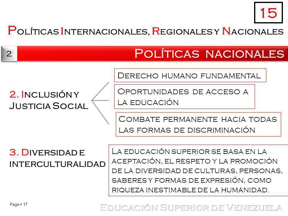 Page 17 P olíticas i nternacionales, r egionales y n acionales Políticas nacionales 15 2 2 2. Inclusión y Justicia Social 3. Diversidad e intercultura