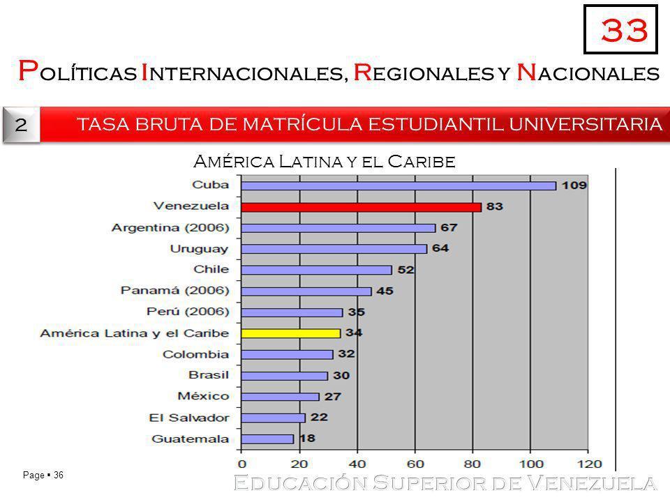 Page 36 P olíticas i nternacionales, r egionales y n acionales tasa bruta de matrícula estudiantil universitaria 33 2 2 América Latina y el Caribe