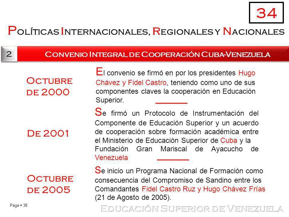 Page 38 P olíticas i nternacionales, r egionales y n acionales 34 2 2 Convenio Integral de Cooperación Cuba-Venezuela S e inicio un Programa Nacional