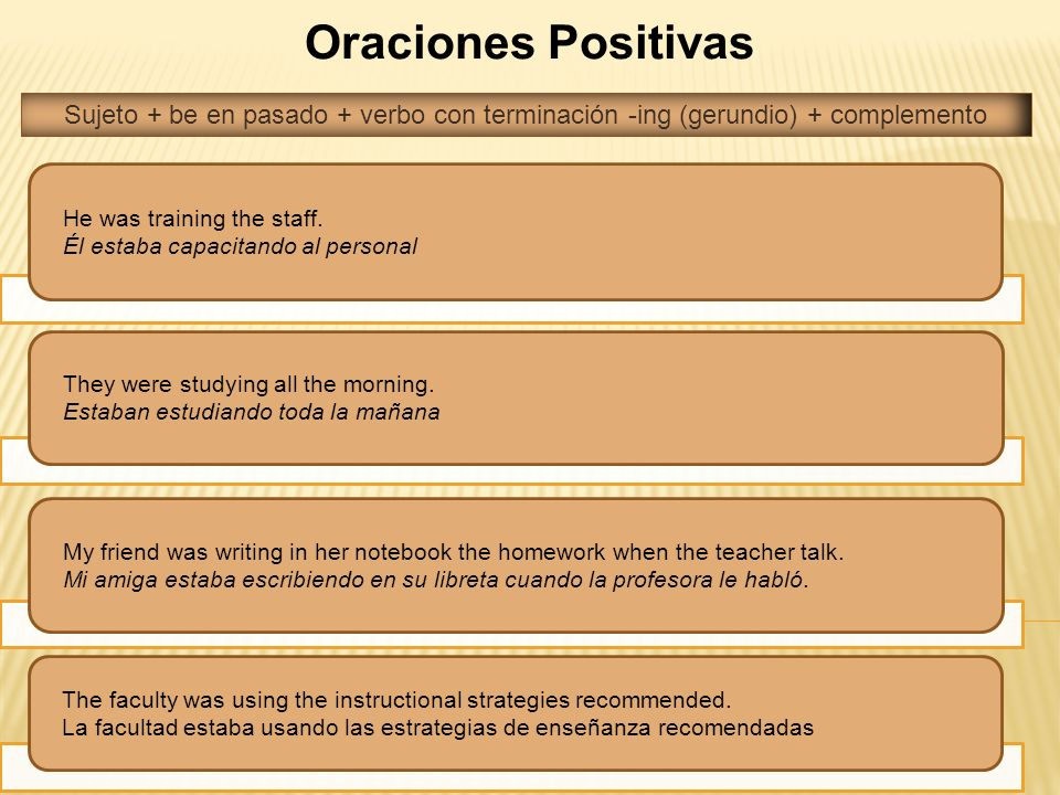Oraciones Positivas He was training the staff. Él estaba capacitando al personal They were studying all the morning. Estaban estudiando toda la mañana
