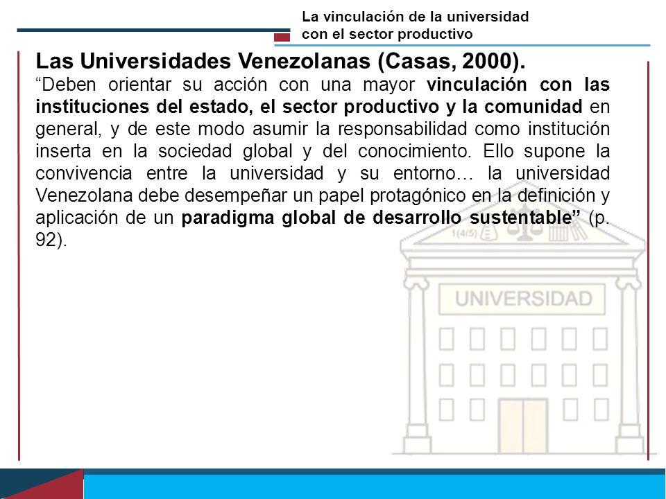 Las Universidades Venezolanas (Casas, 2000). Deben orientar su acción con una mayor vinculación con las instituciones del estado, el sector productivo