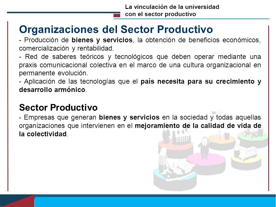 Organizaciones del Sector Productivo - Producción de bienes y servicios, la obtención de beneficios económicos, comercialización y rentabilidad. - Red