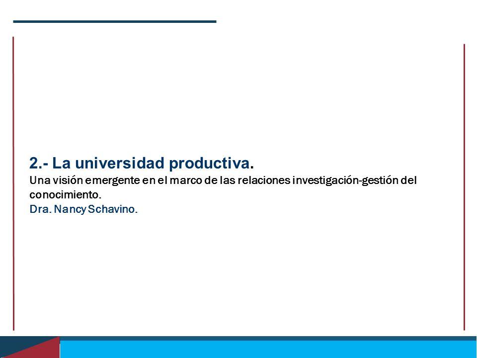 2.- La universidad productiva. Una visión emergente en el marco de las relaciones investigación-gestión del conocimiento. Dra. Nancy Schavino.
