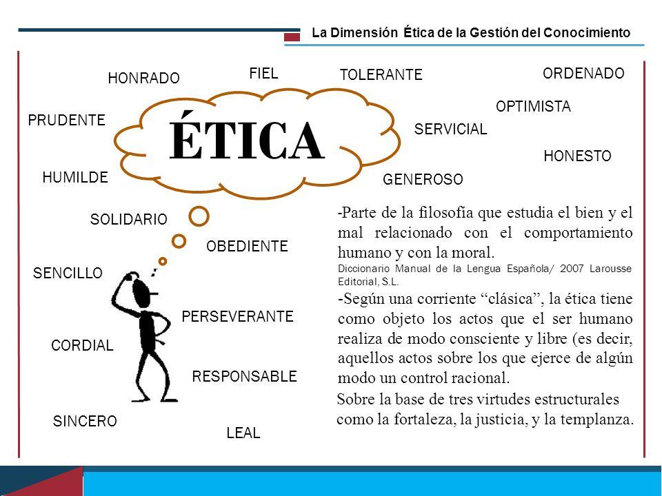 La Dimensión Ética de la Gestión del Conocimiento ÉTICA - Parte de la filosofía que estudia el bien y el mal relacionado con el comportamiento humano