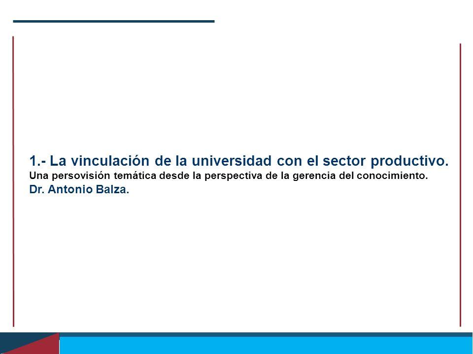 1.- La vinculación de la universidad con el sector productivo. Una persovisión temática desde la perspectiva de la gerencia del conocimiento. Dr. Anto
