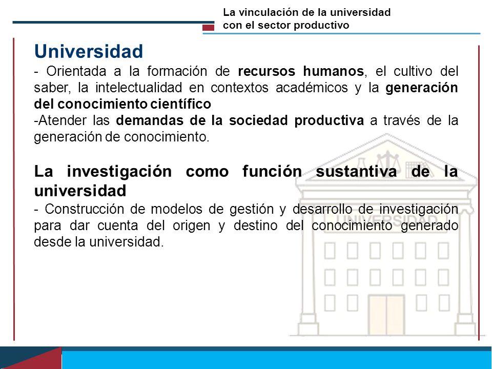 Universidad - Orientada a la formación de recursos humanos, el cultivo del saber, la intelectualidad en contextos académicos y la generación del conoc