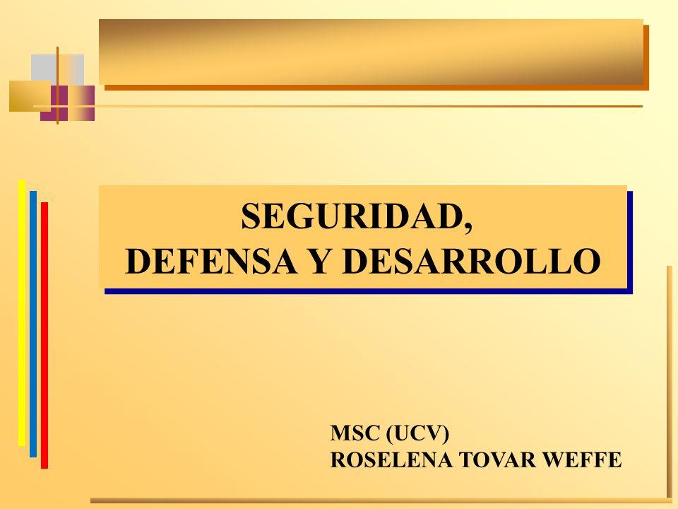 SEGURIDAD, DEFENSA Y DESARROLLO SEGURIDAD, DEFENSA Y DESARROLLO MSC (UCV) ROSELENA TOVAR WEFFE