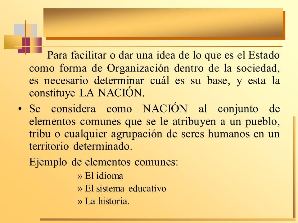 Para facilitar o dar una idea de lo que es el Estado como forma de Organización dentro de la sociedad, es necesario determinar cuál es su base, y esta