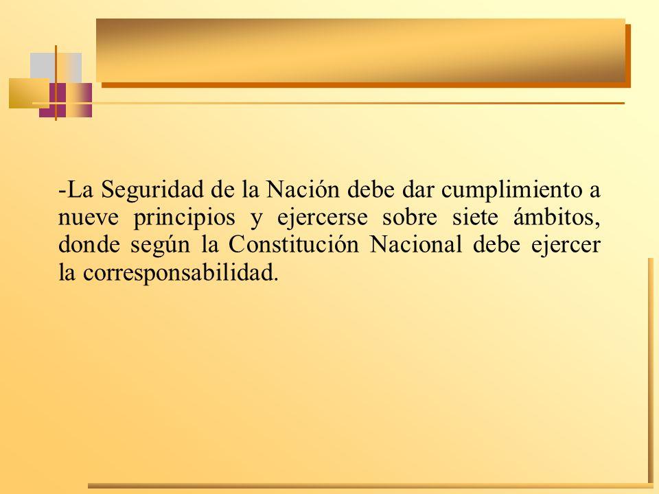 -La Seguridad de la Nación debe dar cumplimiento a nueve principios y ejercerse sobre siete ámbitos, donde según la Constitución Nacional debe ejercer