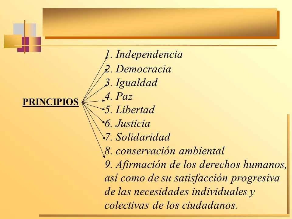 1. Independencia 2. Democracia 3. Igualdad 4. Paz 5. Libertad 6. Justicia 7. Solidaridad 8. conservación ambiental 9. Afirmación de los derechos human